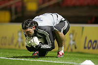 Photo: Marc Atkins.<br /> Watford v Newcastle United. Carling Cup. 07/11/2006.<br /> Pavel Srnicek of Newcastle warms up before the match.