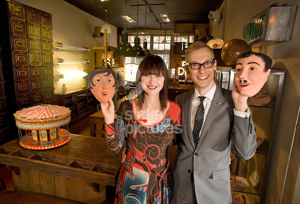 Picture by Daniel Hambury. .24/3/10..Kathryn Rayward and antiques expert Mark Hill who are to present a new BBC2 series, 'Cracking Antiques'..With thanks to shop 'Elemental'.