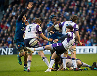 EDINBURGH, SCOTLAND - FEBRUARY 11: Scotland scrum half, Stuart McInally, clears downfield during the NatWest Six Nations match between Scotland and France at Murrayfield on February 11, 2018 in Edinburgh, Scotland. (Photo by MB Media/Getty Images)