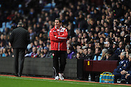 Sheffield Utd manager Nigel Clough watches on as his team go on to win the match during the FA Cup with Budweiser, 3rd round, Aston Villa v Sheffield Utd match  at Villa Park in Birmingham, England on Saturday 4th Jan 2014.<br /> pic by Jeff Thomas, Andrew Orchard sports photography.