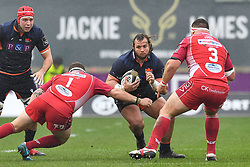 Pierre Schoeman of Edinburgh in action during todays match<br /> <br /> Photographer Craig Thomas/Replay Images<br /> <br /> Guinness PRO14 Round 11 - Scarlets v Edinburgh - Saturday 15th February 2020 - Parc y Scarlets - Llanelli<br /> <br /> World Copyright © Replay Images . All rights reserved. info@replayimages.co.uk - http://replayimages.co.uk