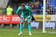 Scott Carson, the goalkeeper of Derby county looks on. EFL Skybet championship match, Cardiff city v Derby County at the Cardiff city stadium in Cardiff, South Wales on Saturday 30th September 2017.<br /> pic by Andrew Orchard, Andrew Orchard sports photography.