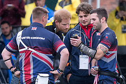 Prince Harry talks with members of team United Kingdom as he attends the Archery finals of the Invictus Games in Toronto, ON, Canada, on Friday September 29, 2017. Photo by Chris Young/CP/ABACAPRESS.COM