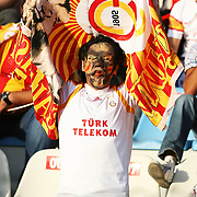 Galatasaray's supporter shows the Galatasaray flag during their Turkish Super Cup 2012 soccer derby match Galatasaray between Fenerbahce at the Kazim Karabekir stadium in Erzurum Turkey on Sunday, 12 August 2012. Photo by TURKPIX
