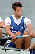 FISA World Cup Rowing Munich Germany..28/05/2004..GBR M8+ Tom James. [Mandatory Credit: Peter Spurrier: Intersport Images].