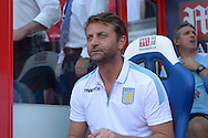 Tim Sherwood, the Aston Villa manager looking on from the dugout before k/o. Barclays Premier league match, Crystal Palace v Aston Villa at Selhurst Park in London on Saturday 22nd August 2015.<br /> pic by John Patrick Fletcher, Andrew Orchard sports photography.