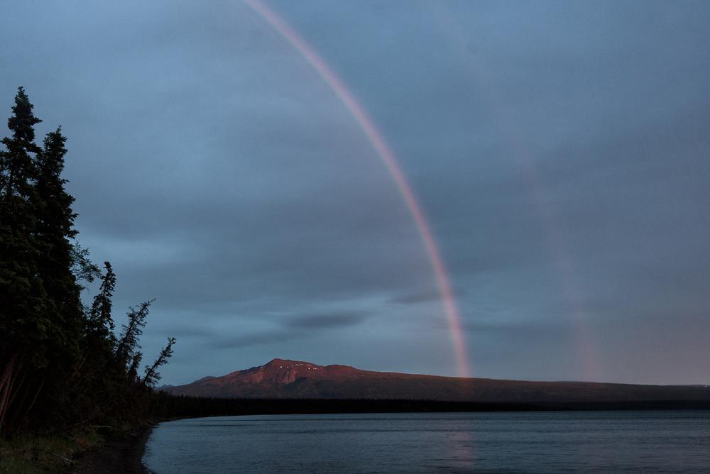 A double rainbow over Lake Brooks and Mt Kelez in Katmai National Park