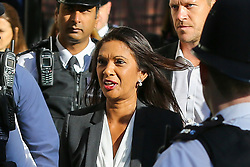© Licensed to London News Pictures. 19/09/2019. London, UK. Businesswoman and political activist GINA MILLER arrive at UK Supreme Court in London on the final day of the three day appeal hearing in the multiple legal challenges against the Prime Minister Boris Johnson's decision to prorogue Parliament ahead of a Queen's speech on 14 October. Since Tuesday 17 September, eleven instead of the usual nine Supreme Court justices have been hearing the politically charged claim that Boris Johnson acted unlawfully in advising the Queen to suspend parliament for five weeks in order to stifle debate over the Brexit crisis. It is the first time the Supreme Court has been summoned for an emergency hearing outside legal term time. Lady Hale, the first female president of the court who retires next January, has been preside the Brexit-related judicial review cases. Photo credit: Dinendra Haria/LNP