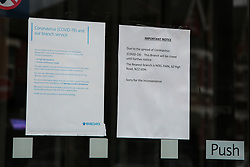 © Licensed to London News Pictures. 02/04/2020. London, UK. A branch of Barclays Bnak in Haringey, north London is closed following coronavirus lockdown. The former Governor of the Bank of England, Lord King of Lothbury, has said that bank branches should reopen to ensure that businesses are able to access the emergency funding on offer from the Government. Photo credit: Dinendra Haria/LNP