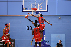 Fred Thomas of Bristol Flyers on the defence - Photo mandatory by-line: Arron Gent/JMP - 28/04/2019 - BASKETBALL - Surrey Sports Park - Guildford, England - Surrey Scorchers v Bristol Flyers - British Basketball League Championship