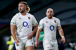 Dan Robson of England and Tom Dunn of England - Mandatory by-line: Robbie Stephenson/JMP - 21/11/2020 - RUGBY - Twickenham Stadium - London, England - England v Ireland - Autumn Nations Cup