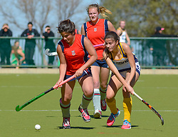 Chloe de Souza of St Stithians and Mia Barnard of Oranje during day one of the FNB Private Wealth Super 12 Hockey Tournament held at Oranje Meisieskool in Bloemfontein, South Africa on the 6th August 2016<br /> <br /> Photo by:   Frikkie Kapp / Real Time Images