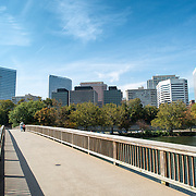 The Rosslyn skyline in Arlington, Virginia, seen from the pedestrian bridge from Theodore Roosevelt Island.