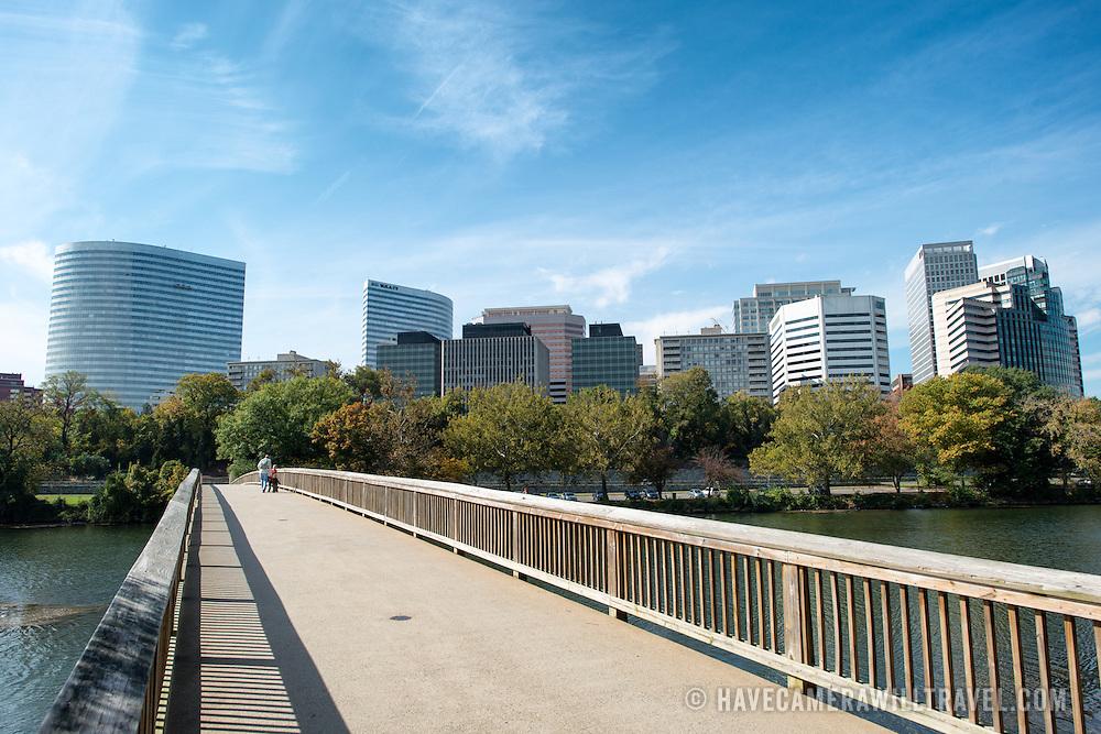 The Rosslyn skyline in Arlington, Virginia, seen from the pedestrian bridge from Theodore Roosevelt Island.