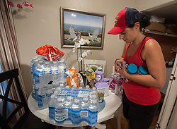 Canadian Audrey Foy gets foods supplies ready for her family at her home in Hollywood, FL, USA., in preparation for the coming of hurricane Irma Friday, September 8, 2017. Photo by /Paul Chiasson/CP/ABACAPRESS.COM