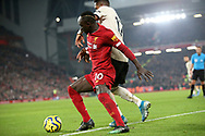 Liverpool forward Sadio Mane (10) battles for possession with Manchester United midfielder Fred (17) during the Premier League match between Liverpool and Manchester United at Anfield, Liverpool, England on 19 January 2020.