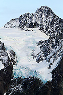 Hanging Glacier below the Summit Pyramid on Mount Shuksan in North Cascades National Park, Washington State, USA.