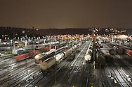 DEU, Germany, Ruhr Area, Hagen-Vorhalle, railroad shunting yard in the district Vorhalle, freight trains.....DEU, Deutschland, Ruhrgebiet, Hagen-Vorhalle, Zugbildungsanlage im Stadtteil Vorhalle, Rangierbahnhof, Gueterzuege.