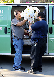 "EXCLUSIVE: Florist delivers a huge orchid arrangement to Playboy Mansion which was sent by Jessica Hahn. The card reads, ""Dear Hef, You changed my life. I love you. -Jessica Hahn"". 28 Sep 2017 Pictured: Florist delivers a huge orchid arrangement to Playboy Mansion. Photo credit: APEX / MEGA TheMegaAgency.com +1 888 505 6342"