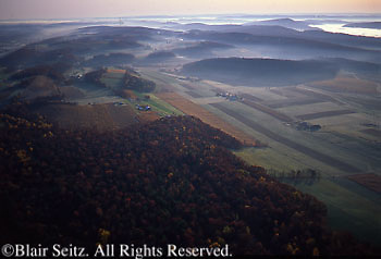 PA Landscapes, Southcentral Pennsylvania, Aerial Photographs, Farmland and Forest, Perry County, PA, fall farms and morning mist,