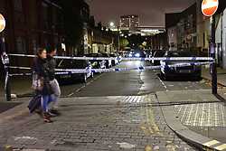 © Licensed to London News Pictures. 25/10/2019. London, UK. Police tape near a jewellers on Uxbridge Road that was ram-raided buy three men in a black Rangerover in Shepherds Bush. Members of the public wrestled one of the robbers to the ground as who was apprehended by police in under a minute. The other two escaped on foot.  Photo credit: Guilhem Baker/LNP