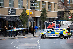 © Licensed to London News Pictures. 26/10/2018. London, UK. The scene at a building site on Greenwich High Road where an expected unexploded World War Two bomb has been found during building works. Photo credit : Tom Nicholson/LNP