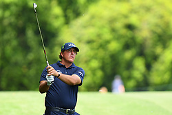 May 3, 2019 - Charlotte, NC, U.S. - CHARLOTTE, NC - MAY 03: Phil Mickelson watches to see where his ball lands on the green on the 11th hole in round two of the Wells Fargo Championship on May 03, 2019 at Quail Hollow Club in Charlotte,NC. (Photo by Dannie Walls/Icon Sportswire) (Credit Image: © Dannie Walls/Icon SMI via ZUMA Press)