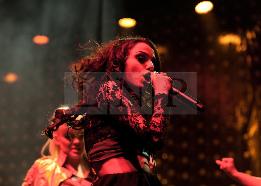 © Licensed to London News Pictures. 08/04/2012. London, UK. Cher Lloyd performs live at IndigO2, her first time performing in the capital as part of her debut concert tour Sticks and Stones.    Cher Lloyd finished fourth in the seventh series of The X Factor and was signed by Simon Cowell to Sony Music subsidiary Syco Music.  Photo credit : Richard Isaac/LNP