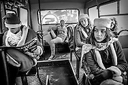 In a bus during Christmas carnival, weeks before presidential elections. Tbilisi. 2008
