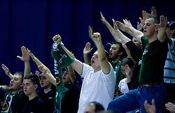 Green Dragons celebrate at third finals basketball match of Slovenian Men UPC League between KK Union Olimpija and KK Helios Domzale, on June 2, 2009, in Arena Tivoli, Ljubljana, Slovenia. Union Olimpija won 69:58 and became Slovenian National Champion for the season 2008/2009. (Photo by Vid Ponikvar / Sportida)