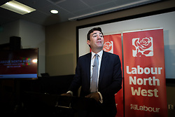 © Licensed to London News Pictures . 09/08/2016 . Salford , UK . ANDY BURNHAM MP is selected as Labour's candidate in the race to be the Mayor of Greater Manchester . He and fellow candidates Ivan Lewis and Tony Lloyd were at an event at The Landing in Media City , Salford , for the declaration . Photo credit : Joel Goodman/LNP