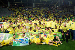 Darko Birjukov (R) and Players of NK Domzale celebrate after the football match between NK Domzale and NK Maribor in final match of Hervis Cup, on May 25, 2011 in SRC Stozice, Ljubljana, Slovenia. Domzale defeated Maribor and became Slovenian Cup Champion 2011. (Photo By Vid Ponikvar / Sportida.com)
