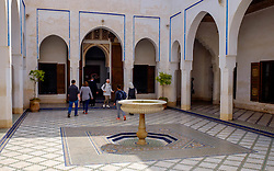 Tourists explore a small courtyard in the Bahia Palace in Marrakech, Morocco, North Africa<br /> <br /> (c) Andrew Wilson | Edinburgh Elite media