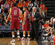 Nov 6, 2010; Charlottesville, VA, USA; Roanoke College head ocahc Page Moir talks with his players Saturday afternoon in exhibition action at John Paul Jones Arena. The Virginia men's basketball team recorded an 82-50 victory over Roanoke College.