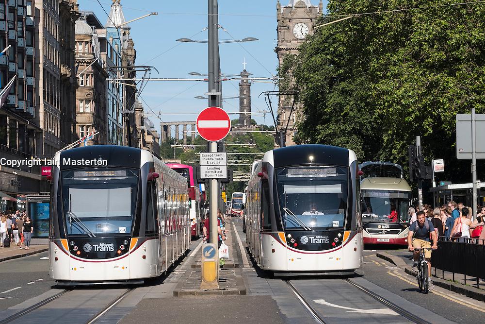 Modern trams on Princes Street in Edinburgh Scotland united Kingdom