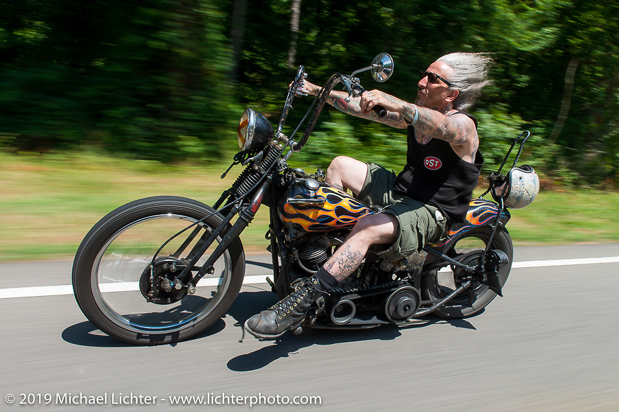 """Richie Pan's last ride. Richie out riding with the coast-to-coast """"Stampeders"""" Saturday morning during the Smokeout. Rockingham, NC. USA. June 20, 2015.  Photography ©2015 Michael Lichter."""