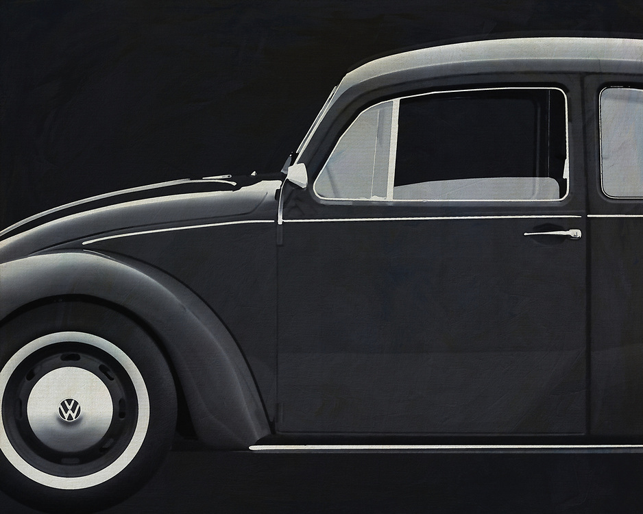 With this black and white version painting of the Volkswagen Beetle you get pure nostalgia. Who doesn't know him? Our good old Volkswagen Beetle.  The Volkswagen Beetle is the most sold car worldwide. -<br />
