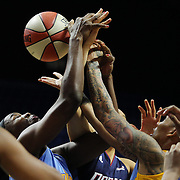 UNCASVILLE, CONNECTICUT- MAY 05:  Players challenge for a rebound during the Atlanta Dream Vs Chicago Sky preseason WNBA game at Mohegan Sun Arena on May 05, 2016 in Uncasville. (Photo by Tim Clayton/Corbis via Getty Images)