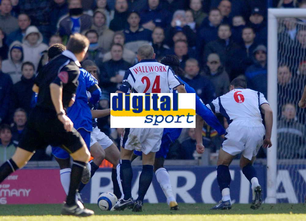 Photo: Glyn Thomas.<br />West Bromwich Albion v Chelsea. The Barclays Premiership. 04/03/2006.<br />Chelsea's Didier Drogba (2nd, R) scores his side's first goal.