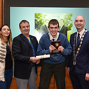05/03/2019<br /> Pictured is winner of the Sr Rosetta Grey award Alan Wallace from Desmond College, Newcastlewest, along with, from left, Sara Montoya, co-op member of Fairtrade Colombia, Peter Gaynor, Executive Director, Fairtrade Ireland, and Cllr Daniel Butler, Mayor of the Metropolitan District of Limerick.<br /> <br /> Fairtrade worker Sara Montoya, from a Fairtrade Coffee Co-op in Colombia was the special guest in Limerick City and County Council chamber today at an event to coincide with Fairtrade Fortnight.<br />  <br /> Sara joined Fairtrade supporters from across Limerick and Ireland for the annual initiative, which features a programme of talks and community events aimed at promoting awareness of Fairtrade and Fairtrade-certified products.<br />  <br /> Speaking at the event in Dooradoyle, Sara outlined the success and benefits of the Fairtrade movement in Colombia and how important it is for people in the developed world think of Fairtrade products when shopping.<br />  <br /> This year's campaign 'Create Fairtrade' invites us all to use our imagination and create fairtrade in our lives.<br />  <br /> Young people from across Limerick city and county were also a focus of the event as they displayed their posters, which they created to help change the way people think about trade and the products on our shelves.<br /> Photo by Diarmuid Greene