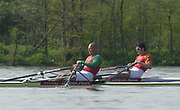 Putney to Mortlake, Thames World Sculling Challenge<br /> <br /> Photo Peter Spurrier<br /> 29/03/2002<br /> 2002 Thames World Sculling Challenge<br /> Vaclav Chulupa (left) and Iztok Cop tussle for the lead on the  as they approach  'Harrods Depository'.