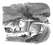 Lime Kilns: burning limestone to produce lime for cement and mortar, and for agricultural use. Wood engraving 1872