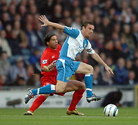 Photo: Back Page Images. 30/10/2004.<br /> Barclays Premiership. Blackburn Rovers v Liverpool. Ewood Park.<br />  Barry Ferguson is away from Milan Baros