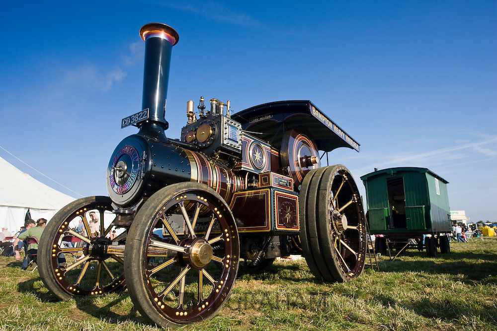 Charles Burrell road locomotive steam engine in a country show in Great Barrington, Gloucestershire