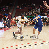 Rehoboth Lynx Mato Chapman (22) drives to the basket as Jal Panther Ethan Sandoval (4) defends in the New Mexico Class 2A boys basketball state final at The Pit in Albuquerque Friday. Rehoboth Christian defeated Jal 55-50.
