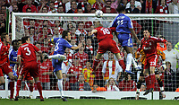 Photo: Paul Thomas.<br /> Liverpool v Chelsea. UEFA Champions League. Semi Final, 2nd Leg. 01/05/2007.<br /> <br /> Didier Drogba (11) of Chelsea puts this header at goal just wide.