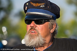 Carl Olsen at High Desert Harley-Davidson in Meridian, Idaho for the hosted dinner strop at the end of stage 13 (257 miles) of the Motorcycle Cannonball Cross-Country Endurance Run, which on this day ran from Elko, NV to Meridian, Idaho, USA. Thursday, September 18, 2014.  Photography ©2014 Michael Lichter.