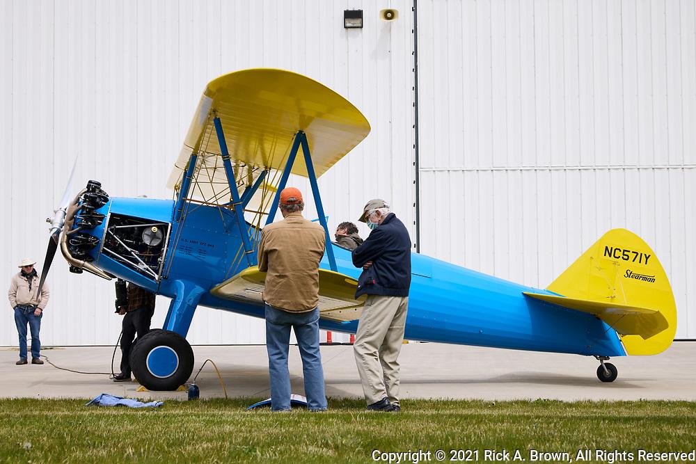Stearman 70 being worked on before flight.