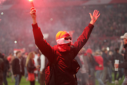 15.05.2012, ESPRIT arena, Duesseldorf, GER, 1. FBL, Relegation, Rueckspiel, Fortuna Duesseldorf vs Hertha BSC Berlin, im Bild vermummter Duesseldorfer Fan auf dem Rasen der Arena, Freisteller // during the German Bundesliga Relegation 2st leg Match between Fortuna Duesseldorf and Hertha BSC Berlin at the ESPRIT arena, Duesseldorf, Germany on 2012/05/15. EXPA Pictures © 2012, PhotoCredit: EXPA/ Eibner/ Oliver Vogler..***** ATTENTION - OUT OF GER *****