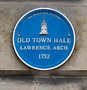 Blue plaque the Old Town Hall, 1752 architect named Lawrence, Devizes, Wiltshire, England, UK